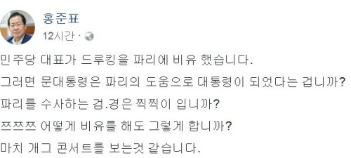 """홍준표 """"드루킹이 파리?, 파리 도움으로 대통령 됐나""""며 특검 요구"""