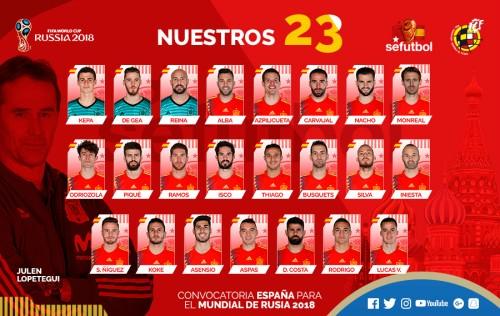 무적함대 스페인, 러시아 월드컵 최종 23인 발표…모라타 제외