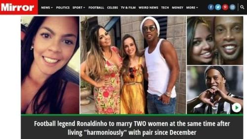 '외계인'호나우지뉴, 두 여성과 동시 결혼 예정…가족은 일부다처제 반대