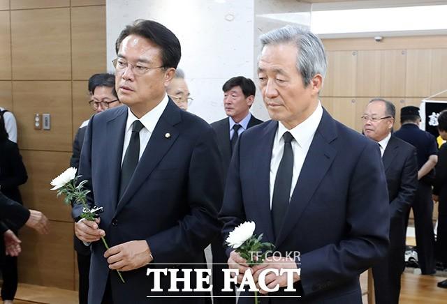 김종필 전 총리 빈소 찾은 정진석-정몽준