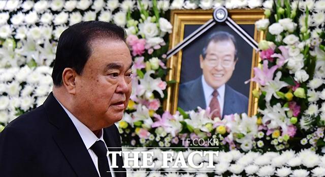 김종필 전 총리 조문 마친 문희상 의원