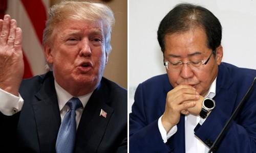 트럼프 뒤에 섰던 한국당·홍준표 '이 줄이 아니네~'