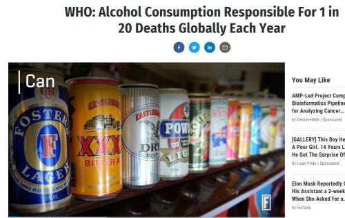 전세계 사망자 20명 중 1명이 술로…WHO 보고서