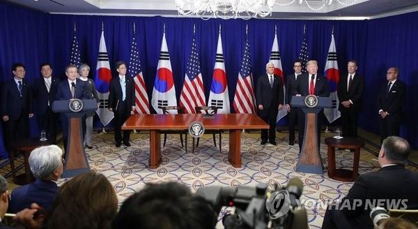 """트럼프 """"한미FTA는 통상분야 역사 이정표…미국 제품의 한국 수출 늘렸다"""""""