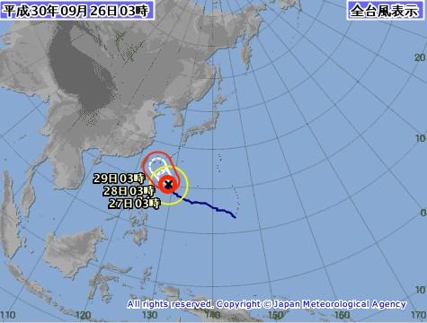 일본기상청 제24호 태풍 짜미 이동 경로, 오키나와 남부→사키시마 제도 근해