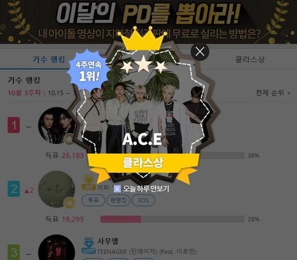 에이스, '클릭스타워즈' 라이징투표 4주 연속 1위