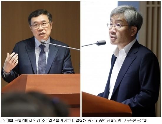 기준금리 동결, 이일형·고승범 금통위원 '인상 소수의견'