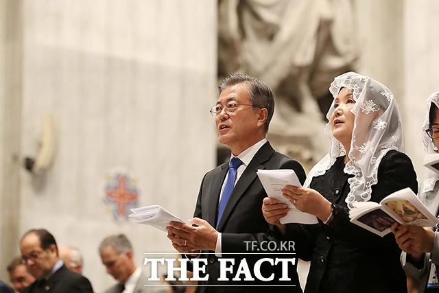 한반도 평화 미사 참석한 문재인 대통령