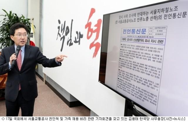 서울교통공사, '배우자 정규직 전환 은폐' 인사처장 직위해제