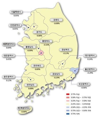 이번주 서울 아파트 매매가 0.05%↑…19주만에 최저
