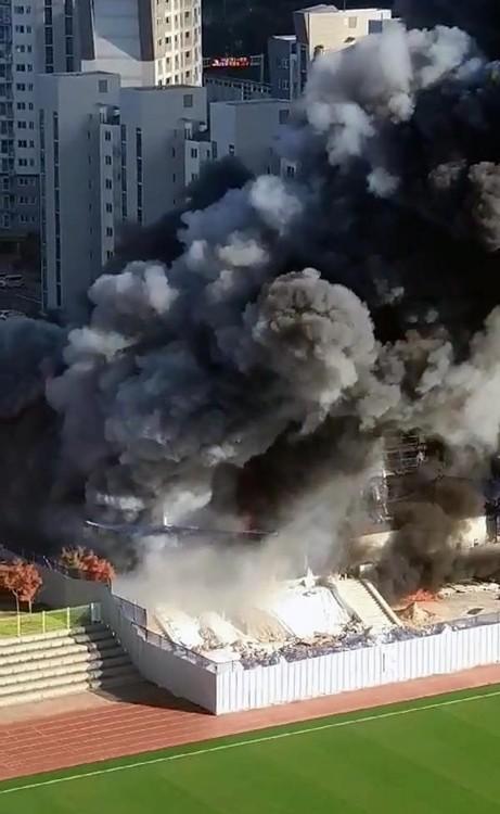 대전 관저동 공사장 화재, 라커룸서 발화 추정...11명 부상