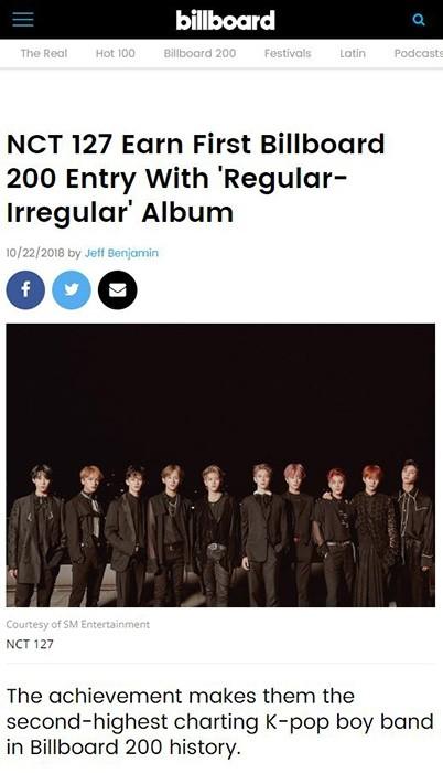 NCT 127, 美 데뷔 앨범 'Regular-Irregular' '빌보드 200' 86위 첫 진입