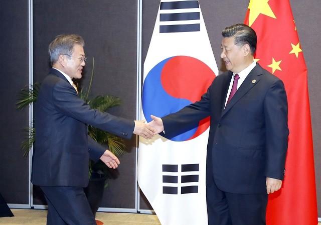 """文대통령·시진핑 '정상회담'…""""한반도 평화·번영 협력"""""""