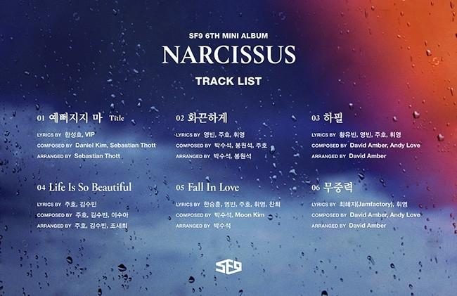 '20일 컴백' SF9, 미니 6집 'NARCISSUS' 하이라이트 메들리 공개
