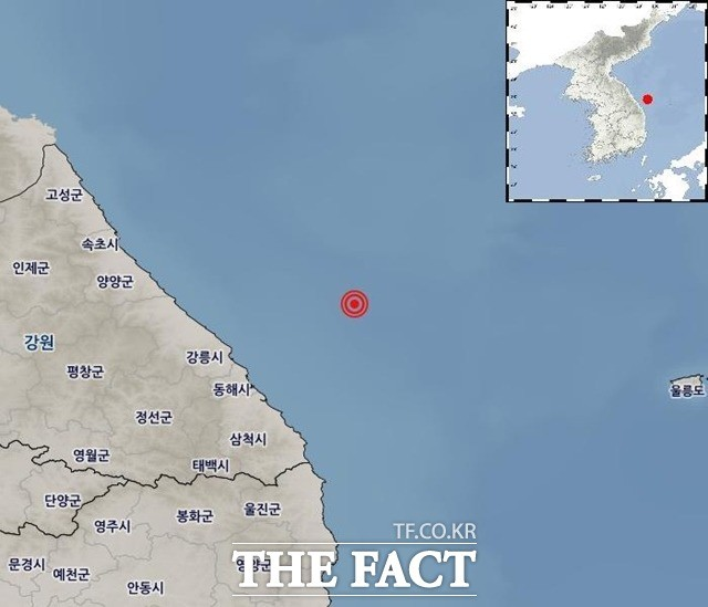 <속보>강원 동해시 북동 해역서 규모 4.3 지진
