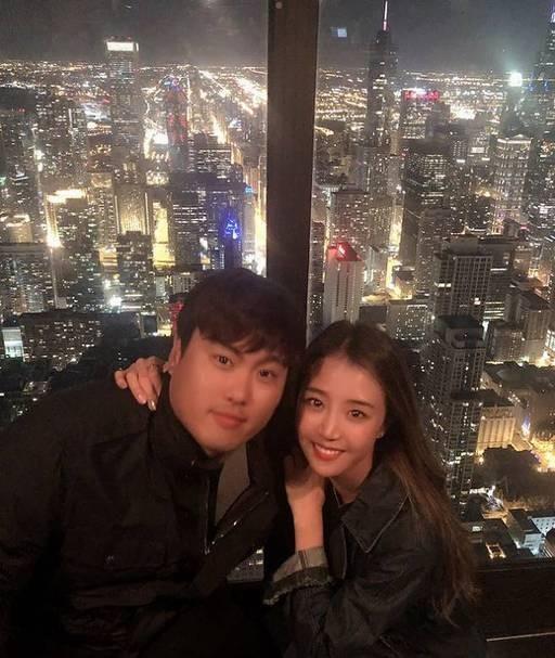 """류현진♥배지현, 달달한 럽스타그램 """"아름다운 시카코의 밤"""""""