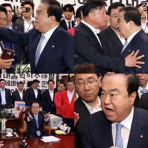 """'신체접촉 주장' 임이자 국회의원 """"참담하다"""" VS 문희상 """"자해공갈"""""""