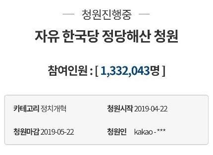 '한국당 해산' 국민청원 130만명 역대 최다
