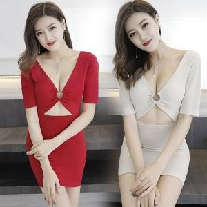 홀복 섹시원피스 클럽의상 지패션 /44-가슴 링 반소매