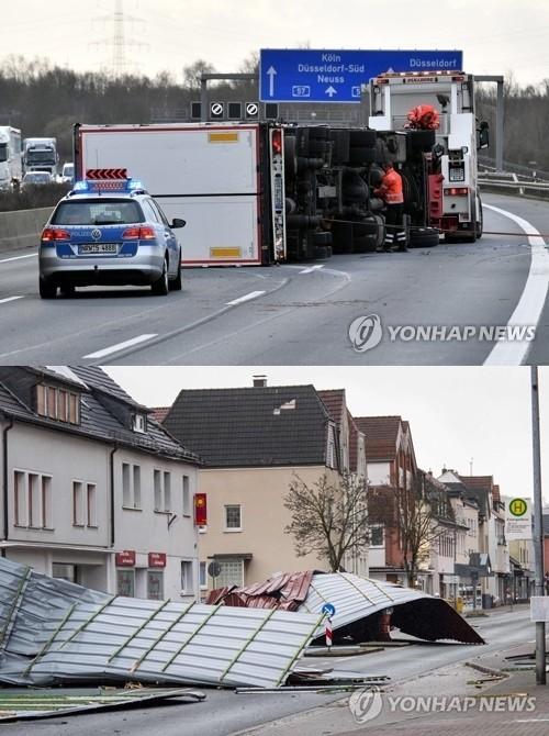 유럽 폭풍 '시속 200km', 폭탄 투하된 듯