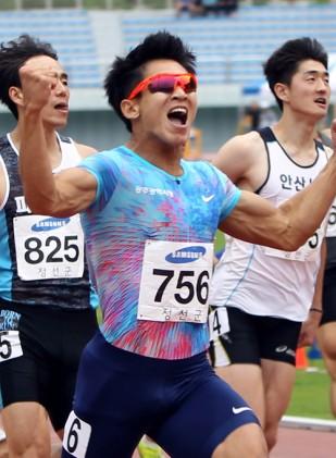 김국영 男100m 10초07로 한국新, 사상 첫 세계선수권 기준기록 통과
