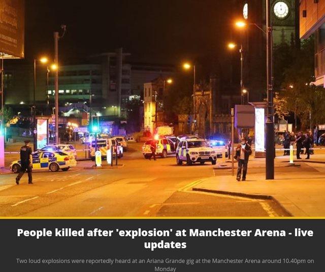 아리아나 그란데 공연중 폭발사고! 맨체스터 경기장