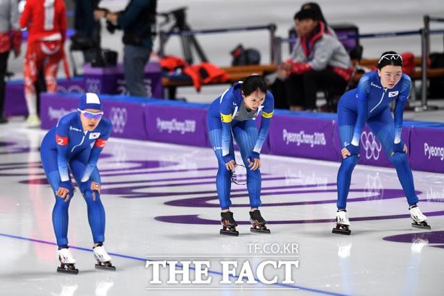 '노선영 출전' 여자 팀추월, 3분07초30 기록…최하위 8위