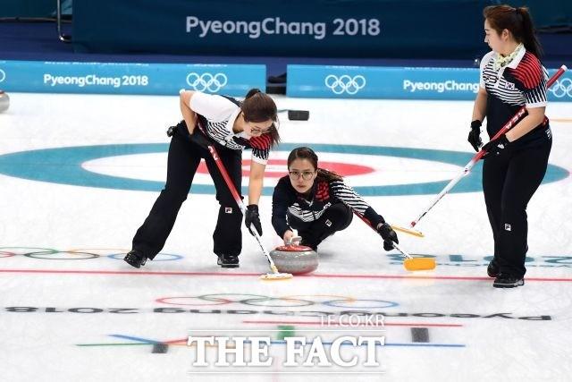 여자 컬링, 결승 스웨덴전 7엔드 종료 '2-7'