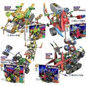LOZ 움직이는 조립 레고 블럭 동작 로봇 창의 지능