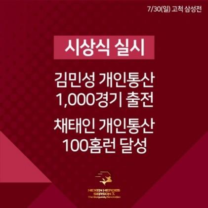 넥센, 김민성 1000경기-채태인 100홈런 시상식 실시