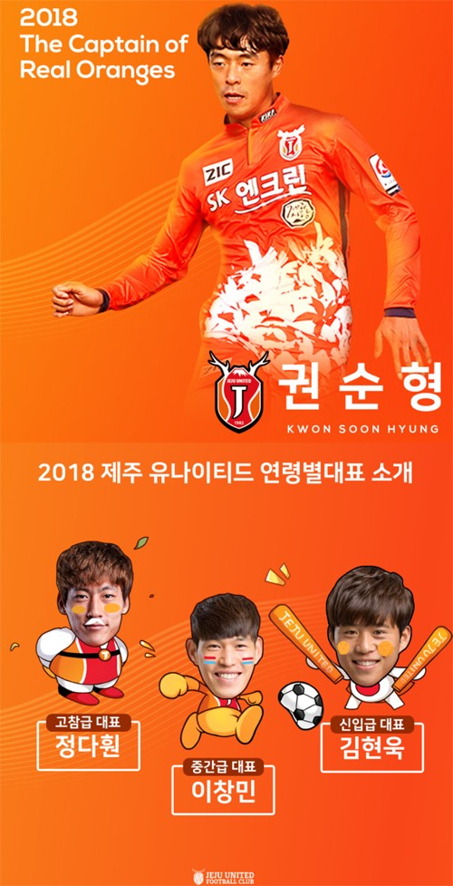제주, 2018시즌 연령별 대표 선출…주장 권순형