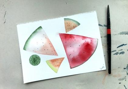 수박 그리기_ 수채화 물번지기 기법으로 그리는 시원수박패턴 _Watercolor painting