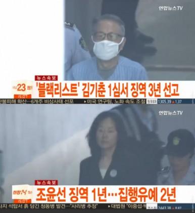 """블랙리스트 김기춘 조윤선 집행유예, 누리꾼들…""""정권이 바꿨는데도 이 지경인데"""""""
