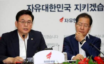 홍준표 '수구 부활 비난 안돼 ' vs ·정우택 '극우화 시기상조' 충돌