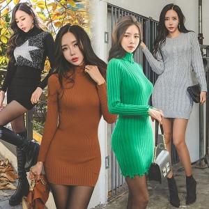 유유존-심플원피스/니트/클럽의상/섹시홀복/미니롱